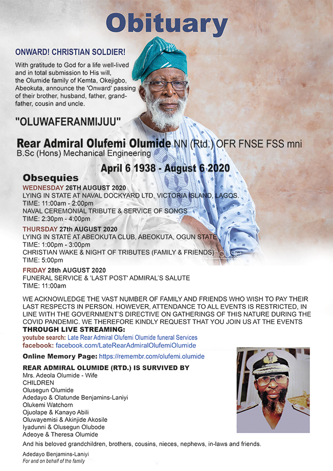 Rear Admiral Olufemi Olumide's burial programme